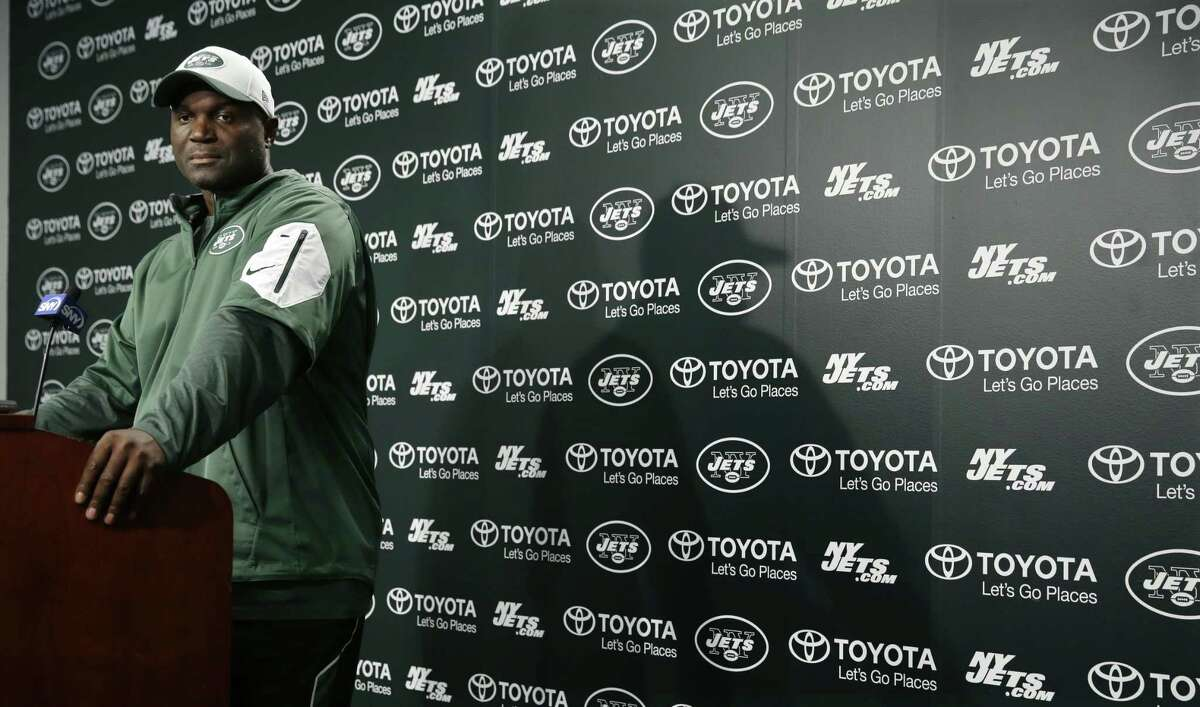 New York Jets head coach Todd Bowles listens to a question after practice on Monday in Florham Park, N.J.