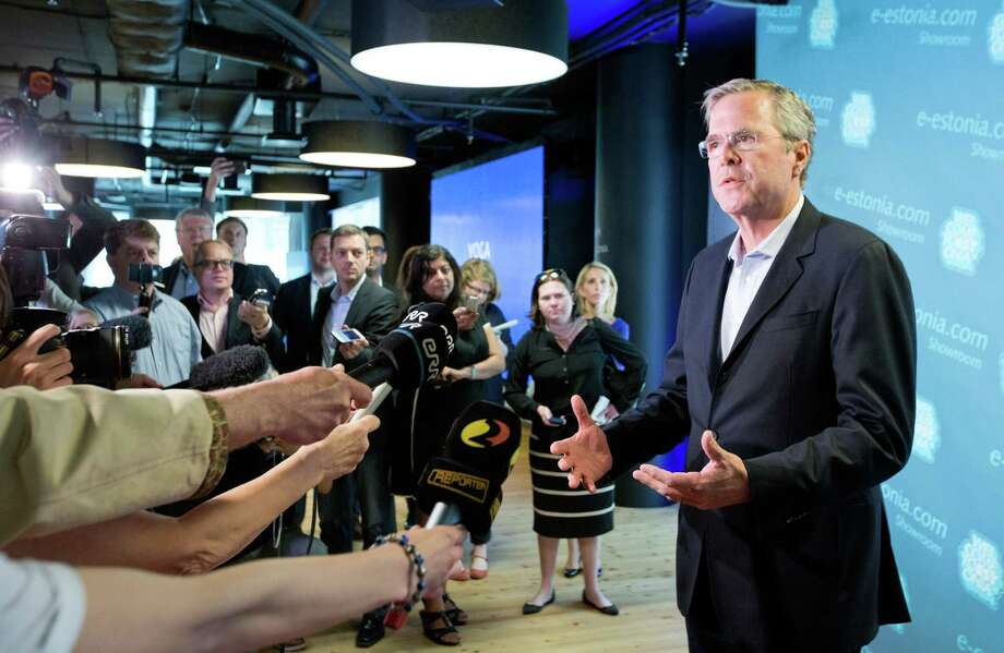 Former U.S. Governor of Florida Jeb Bush speaks to journalists during his visit in Tallinn, Estonia on June 13, 2015 the once-bleak Soviet state of Estonia, that is now a growing free-market economy.  Jeb Bush will be spending a week traveling through three nations, as he considers his widely anticipated announcement of his candidacy for the Republican candidate to run for president. Photo: AP Photo/Liis Treimann   / AP