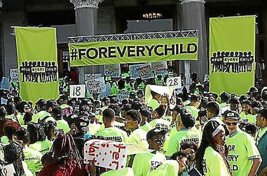Rally of charter school kids outside the state Capitol. Photo: Elizabeth Regan File Photo, CTNewsJunkie