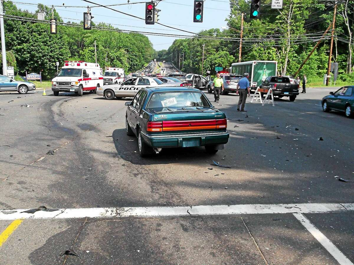 Police responded to a multi-vehicle crash at the intersection of at the intersection of Derby Avenue and Orange Center Road Tuesday.