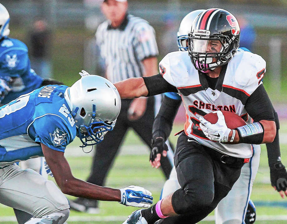 Shelton's Peter Hoff ran for 205 yards on 22 carries against the Westies in Tuesday's Class LL semifinals, but suffered a broken leg and is lost for the year Photo: Catherine Avalone — New Haven Register / John Vanacore/New Haven Register