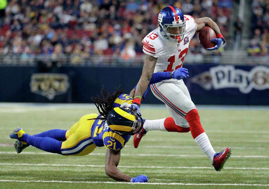 New York Giants wide receiver Odell Beckham Jr. has become a marked man. Photo: Charlie Riedel — The Associated Press File Photo   / AP