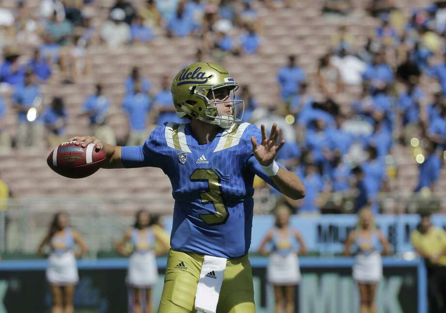 UCLA quarterback Josh Rosen throws a pass during the second half of an NCAA college football game against Virginia at Rose Bowl, Saturday, Sept. 5, 2015, in Pasadena, Calif. UCLA won 34-16. (AP Photo/Jae C. Hong) Photo: AP / AP