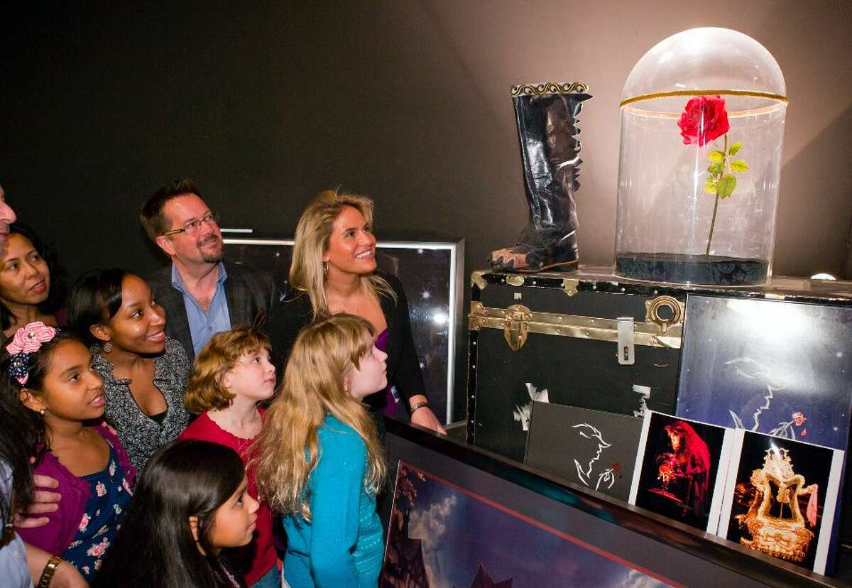 """Visitors see the enchanted rose from the Disney musical """"Beauty and the Beast"""" while on the Disney on Broadway: Behind the Magic walking tour. The tour is the only one that lets visitors handle props from Broadway shows in a Broadway theater."""