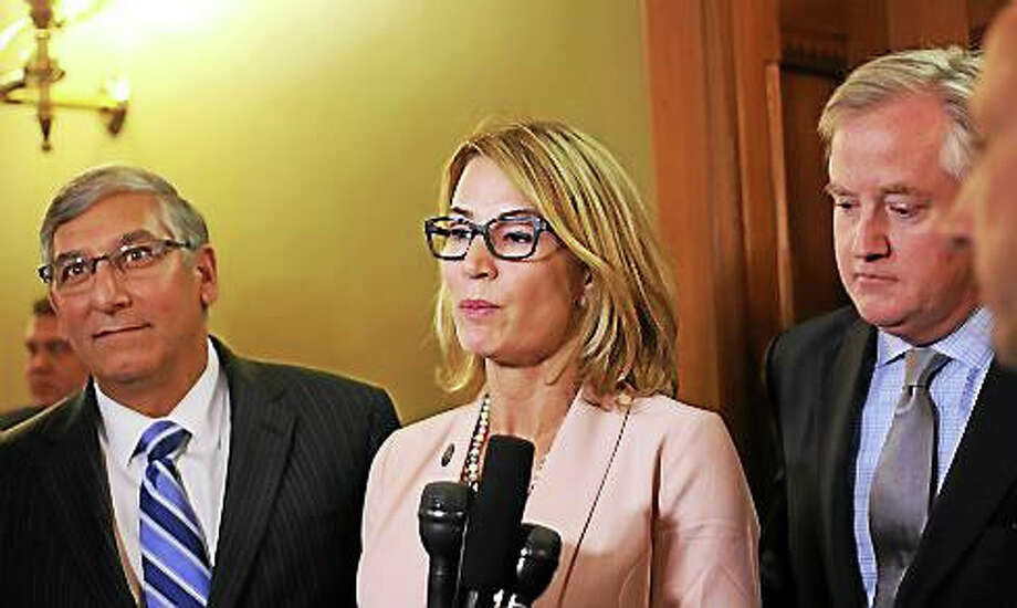 Senate Minority Leader Len Fasano, House Minority Leader Themis Klarides and House Speaker Brendan Sharkey Photo: CHRISTINE STUART PHOTO