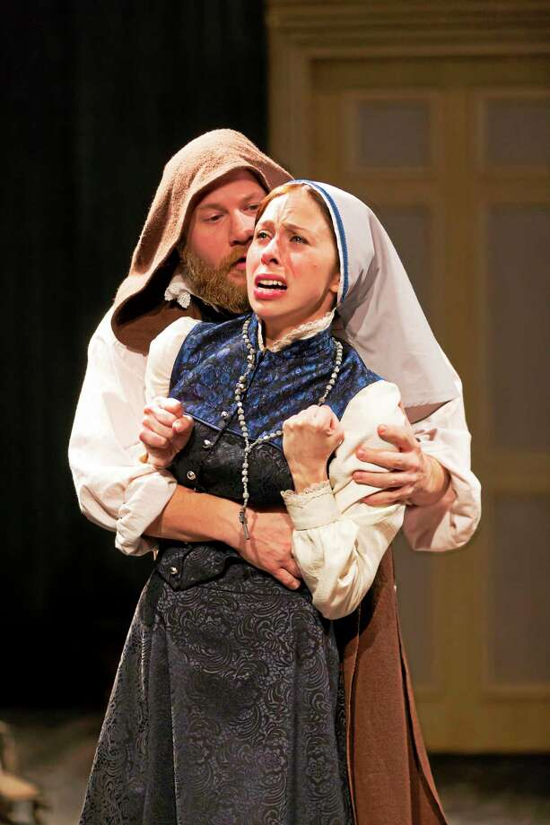 "Andy Grotelueschen (Duke-Friar) and Emily Young (Isabella-Miss Overdone) in Fiasco Theater's ""Measure for Measure"" at Long Wharf Theatre in New Haven. Photo: T. Charles Erickson   / T Charles Erickson"
