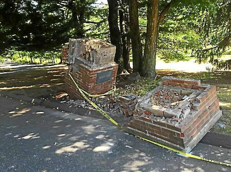Screenshot via cheshirecitizen.com: (The aftermath of a one-car crash that left an 85-year-old woman dead in Cheshire Sunday morning. | Leigh Tauss / Record-Journal) Photo: Journal Register Co.