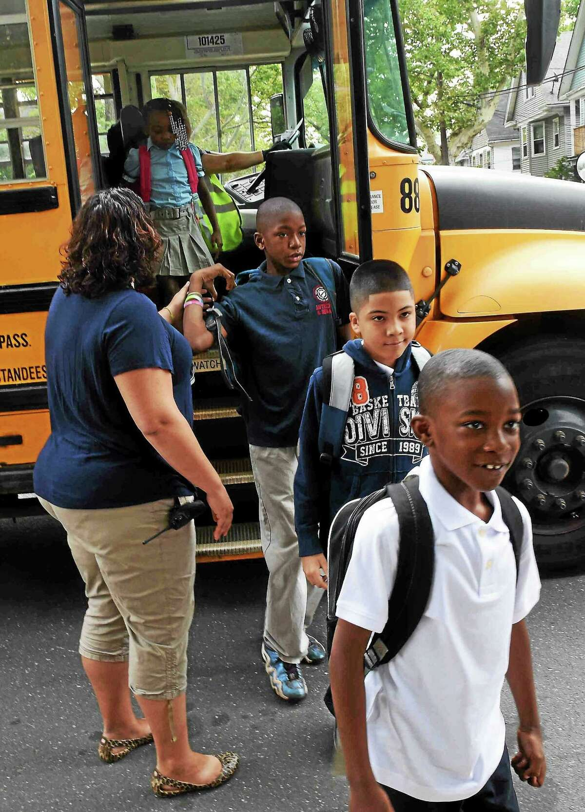 Lincoln-Bassett Elementary School students, staff and parents are welcomed back to the first day of the new school year on Aug. 31, and met with applause, handshakes, cheering and encouraging words by City of New Haven Public Schools staff, local politicians, community leaders, New Haven police and fire officers and residents in New Haven.