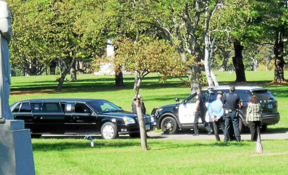 One person was taken to the hospital and another was arrested late Wednesday morning after a stabbing at All Saints Cemetery in North Haven. Photo: Wes Duplantier — New Haven Register