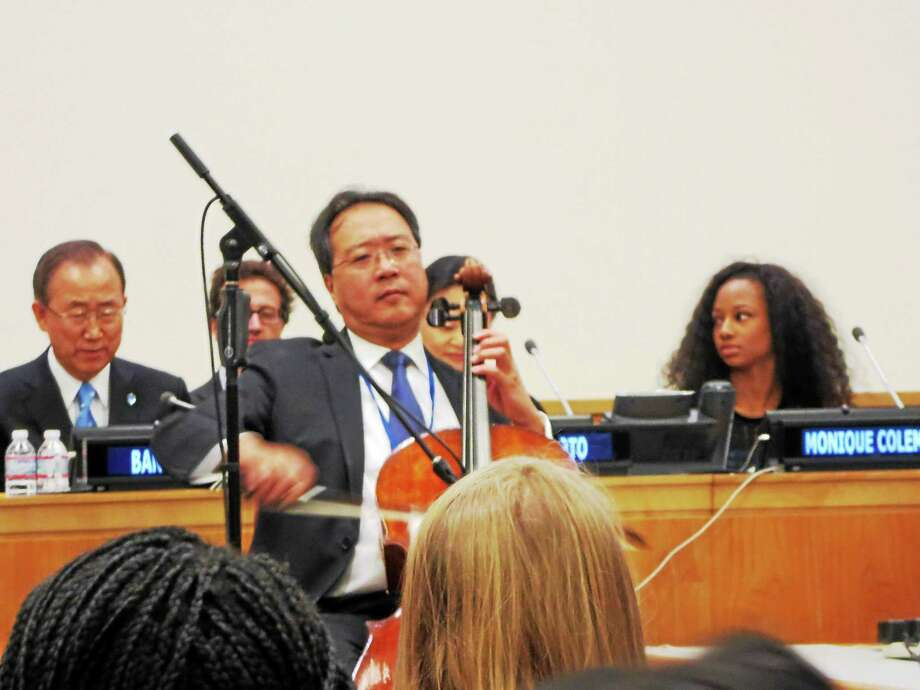 (Contributed photo) Yo Yo Ma performs at the Student Observance of the International Day of Peace Photo: Journal Register Co.