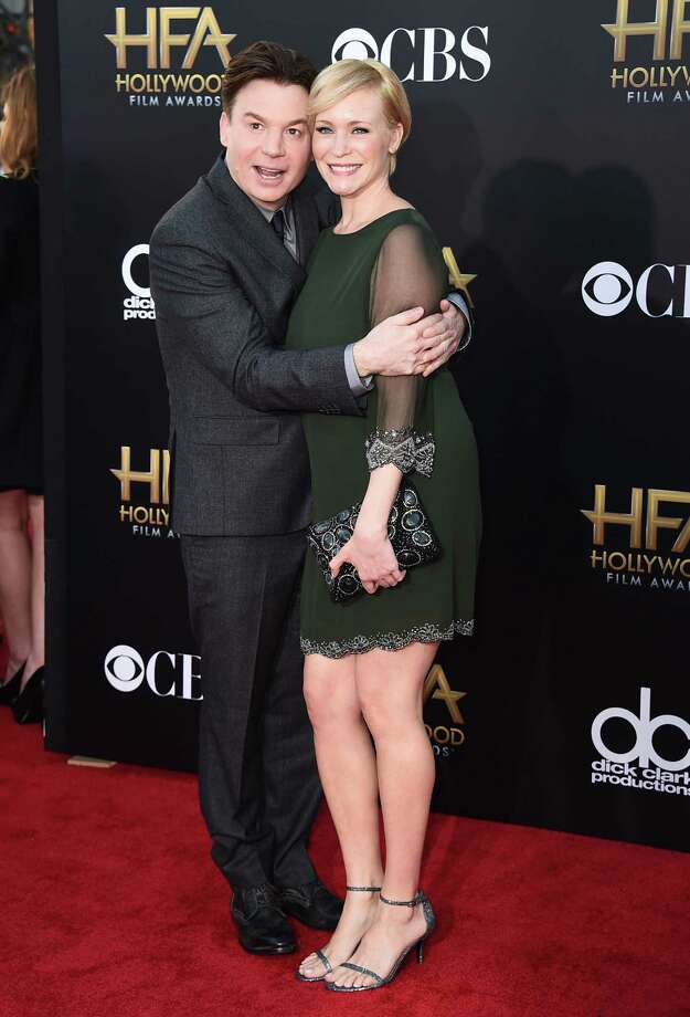 In this Nov. 14, 2014, file photo, Mike Myers, left, and Kelly Tisdale arrive at the Hollywood Film Awards at the Palladium in Los Angeles. A spokeswoman for Myers said that Kelly gave birth Monday, Nov. 2, 2015, to their daughter Paulina Kathleen in New York City. Photo: Photo By Jordan Strauss/Invision/AP, FIle    / Invision