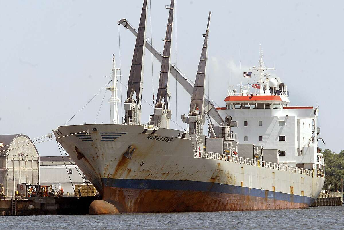 In this June 21, 2007 photo, the Napier Star, carrying holds full of bananas, is unloaded at the Turbana Dock in Bridgeport, Conn. Turbana left Bridgeport primarily because decades of accumulated silt made it impossible for larger ships to dock in the port. Bridgeport's authorized channel depth is 35 feet, but it has not been dredged since 1964. In 2010, the depth was about 28 feet.