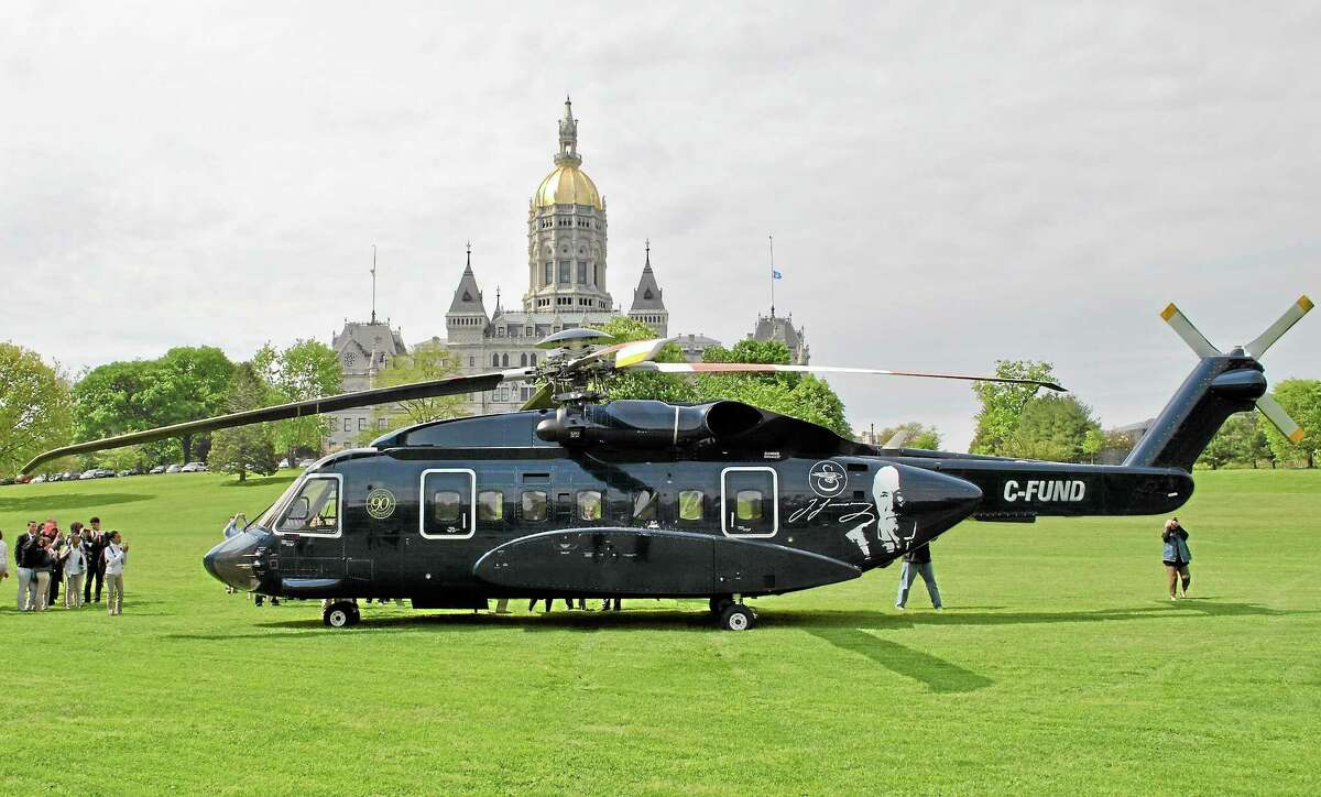 A Sikorsky S-92 helicopter lands at the Connecticut State Capitol in recognition of Manufacturing and Technology Day, May 15.
