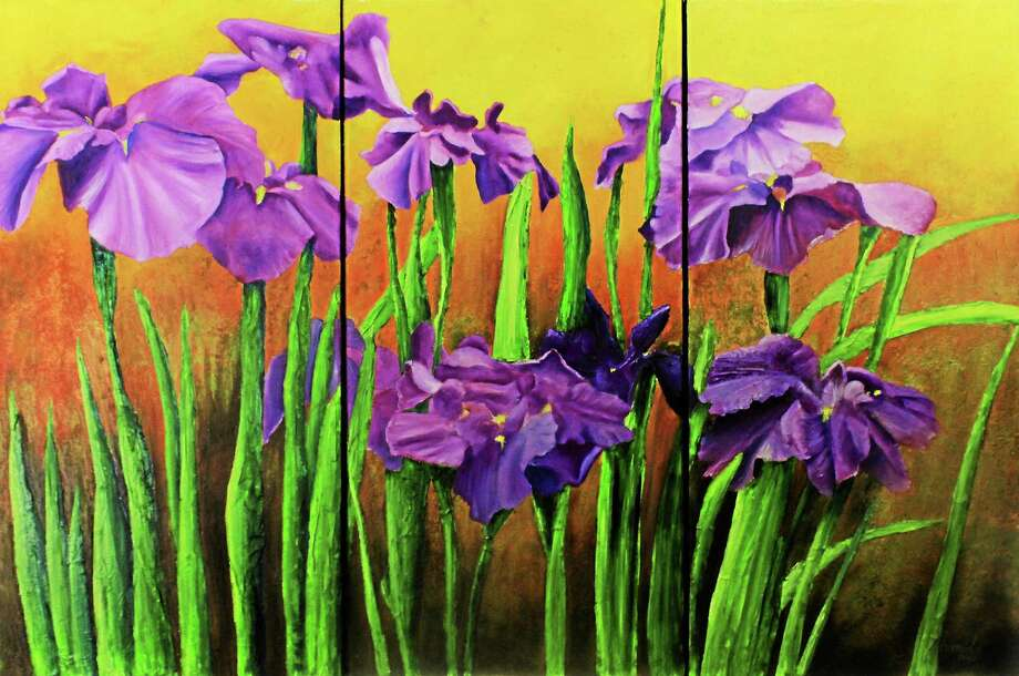 Contributed  Sunset Irises, triptych, oil on canvas, by Armida Espaillat. Photo: Journal Register Co.