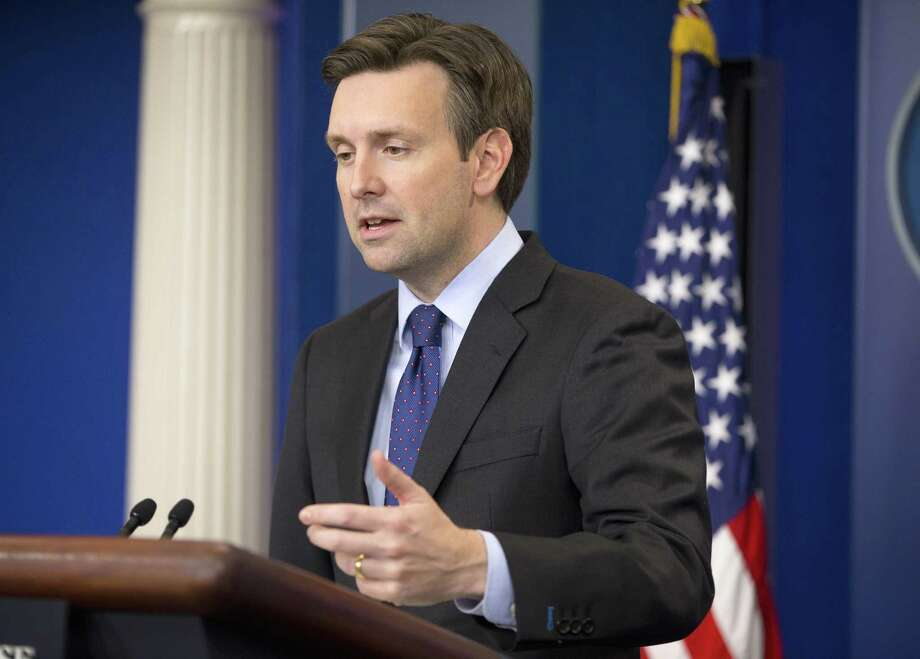 White House press secretary Josh Earnest speaks to the media during the daily briefing in the Brady Press Briefing Room of the White House in Washington Friday. Earnest commented on President Obama's decision to deploy fewer than 50 commandos to northern Syria to work with local group forces in the fight against Islamic State militants. Photo: AP Photo   / AP