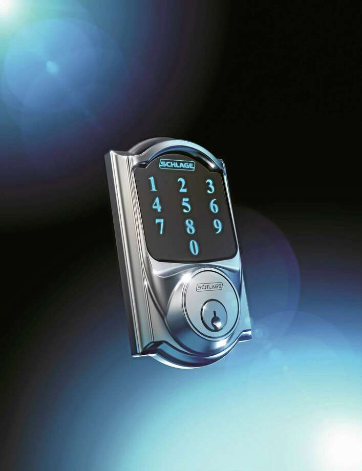 The Schlage Connect BE 469, with numeral touchpad and backkup key slot. Photo: Contributed