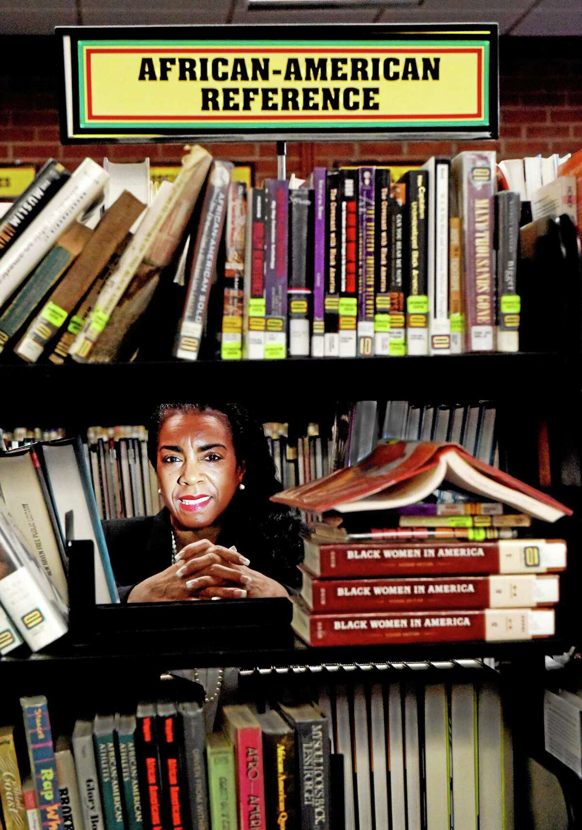 Librarian Diane Brown at the Stetson Library on Dixwell Avenue in New Haven.