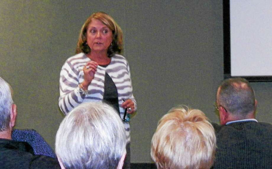 Former Lyman Hall High School English Department Chairwoman Susan Gomes speaks at a forum on Tuesday night at Wallingford Public Library about censorship and book banning. Photo: PHOTO BY Mary Ellen Crawford