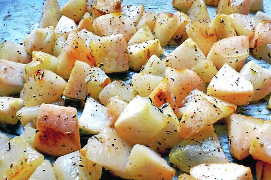 While many cooks use pears in sweet dishes, roasted pears are also tasty when added to savory recipes. Photo: Amy Sherman — Www.oneforthetable.com