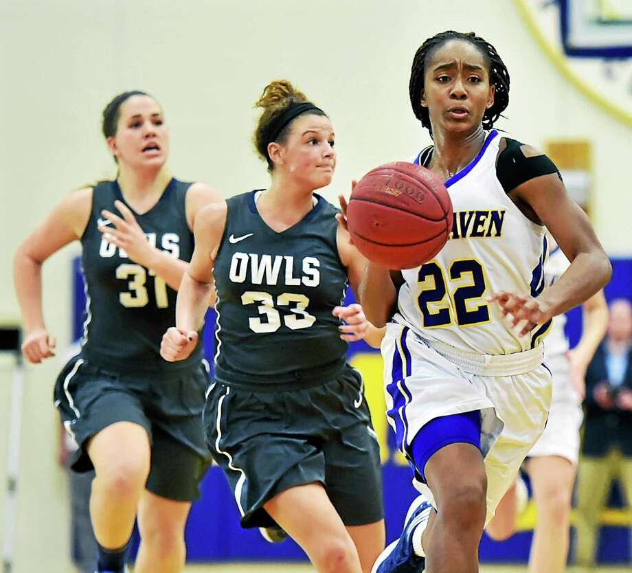Southern Connecticut's  Chandler Williams (33) and Taylor McLaughlin chase down New Haven's  Briana Bradford Wednesday at Charger Gymnasium. New Haven won 67-55. Photo: Catherine Avalone - New Haven Register   / New Haven RegisterThe Middletown Press
