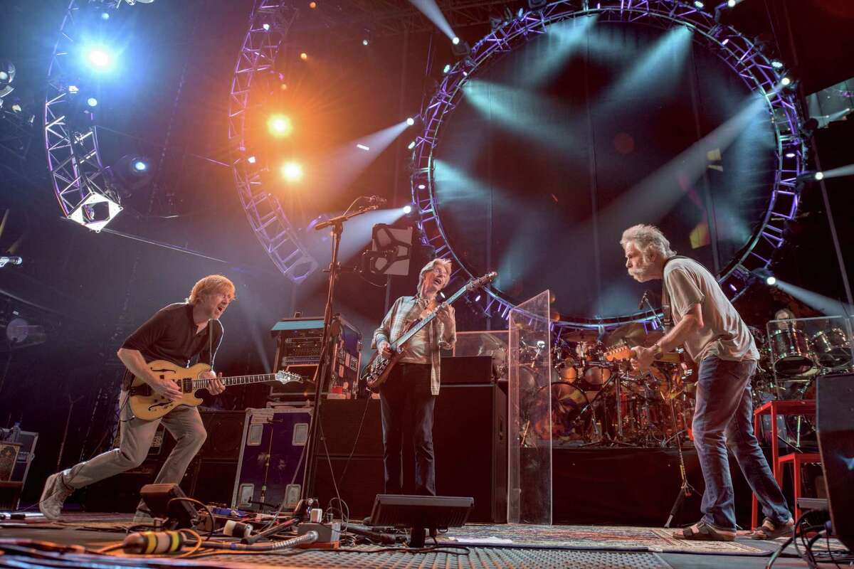 Trey Anastasio, from left, Phil Lesh, Bob Weir of The Grateful Dead perform at Grateful Dead Fare Thee Well Show at Soldier Field on July 4, 2015, in Chicago, Ill.