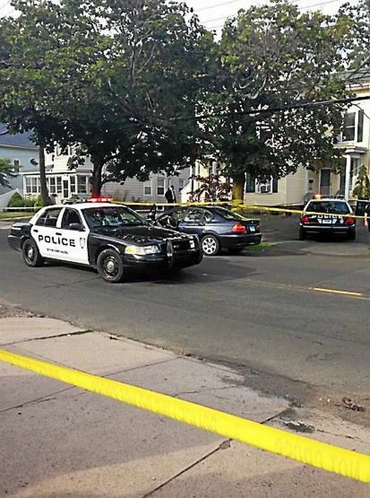 West Haven Police investigate a shooting at 667 Washington Ave. near Elm Street in West Haven Thursday.