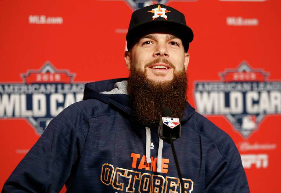 Houston Astros starting pitcher Dallas Keuchel speaks during a press conference Monday. Photo: Kathy Willens —  The Associated Press   / AP