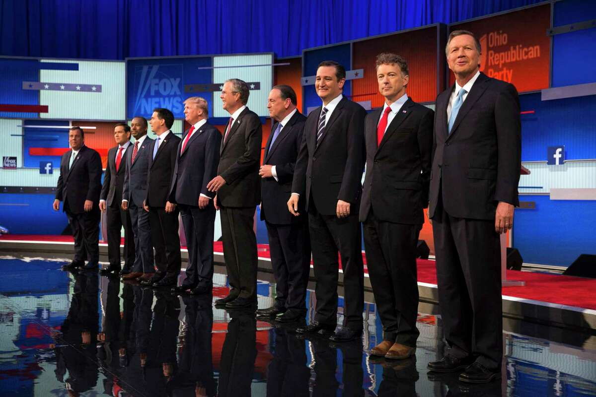 Republican presidential candidates from left, Chris Christie, Marco Rubio, Ben Carson, Scott Walker, Donald Trump, Jeb Bush, Mike Huckabee, Ted Cruz, Rand Paul, and John Kasich take the stage for the first Republican presidential debate at the Quicken Loans Arena Thursday in Cleveland.