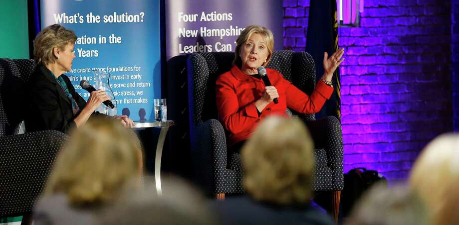 Democratic presidential candidate Hillary Rodham Clinton speaks at an Early Childhood  Education Conference on Oct. 5, 2015 in Manchester, N.H. Photo: AP Photo/Jim Cole   / AP