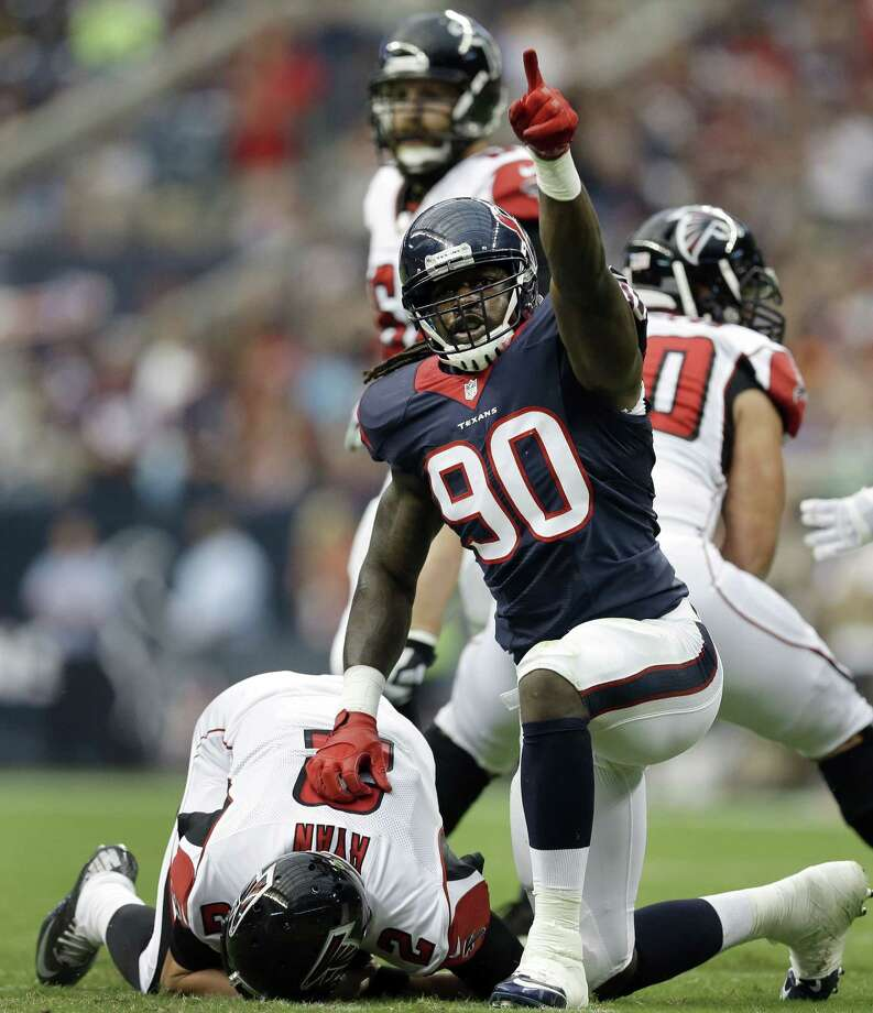 The father of Houston Texans defensive end Jadeveon Clowney (90) has been denied bond on attempted murder charges. Photo: Patric Schneider — The Associated Press File Photo   / FR170473 AP