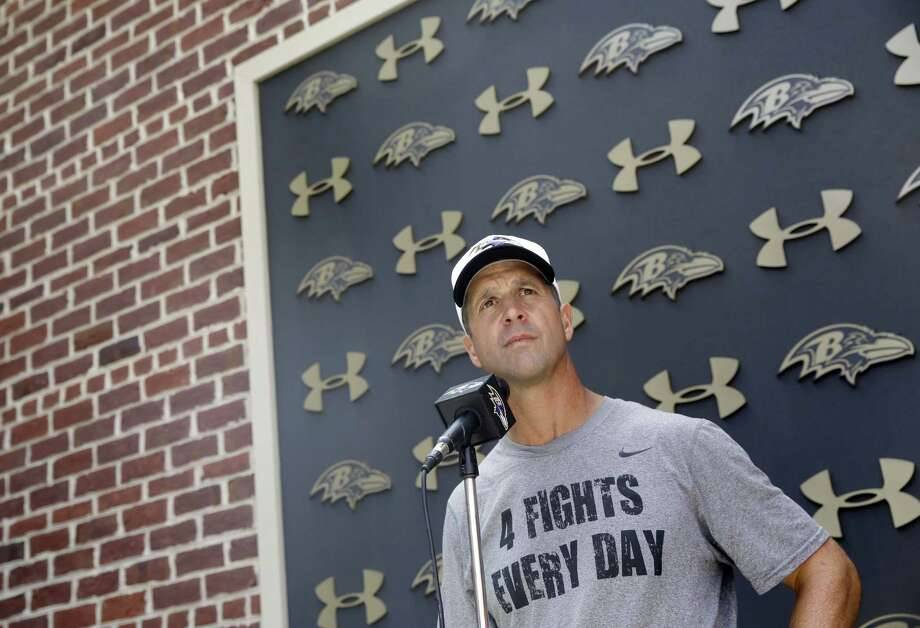 Baltimore Ravens head coach John Harbaugh speaks at a news conference Wednesday in Owings Mills, Md. Photo: Patrick Semansky — The Associated Press   / AP