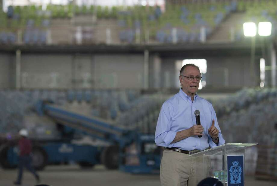 Brazil's Olympic Committee President Carlos Nuzman gives a press conference Wednesday inside a stadium under construction, one year before the Olympics Games start, at Olympic Park in Rio de Janeiro, Brazil. Photo: Leo Correa — The Associated Press   / AP