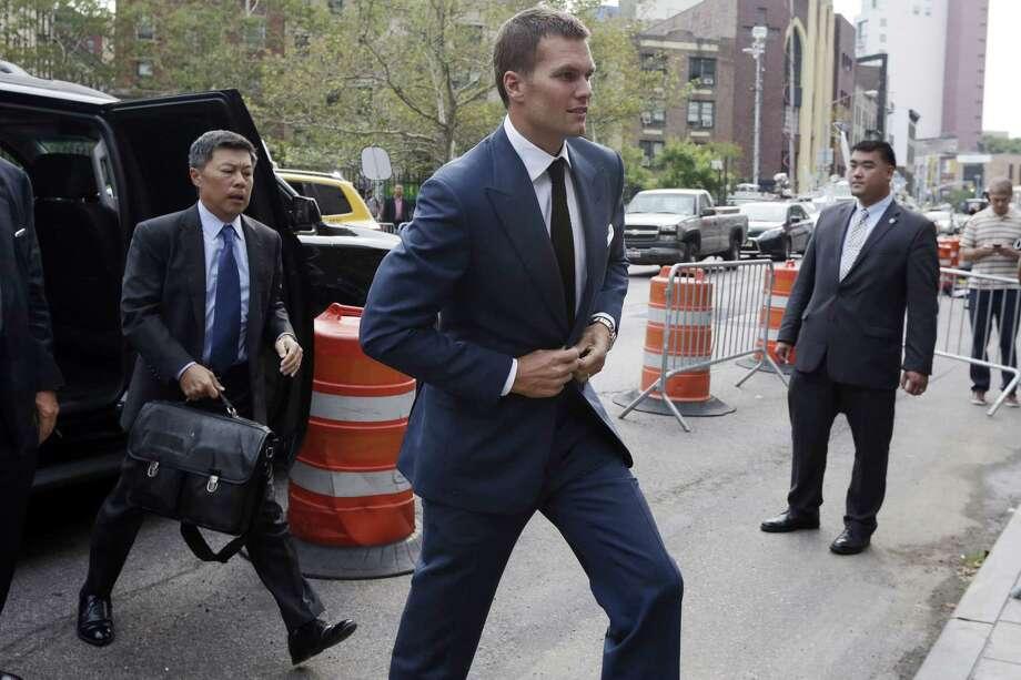 New England Patriots quarterback Tom Brady arrives at Federal court, in New York,  Monday, Aug. 31, 2015. Photo: (AP Photo/Richard Drew) / AP