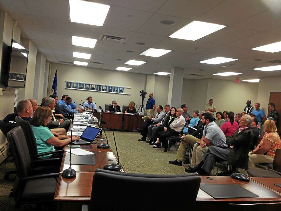 Crowds turned out at West Haven City Hall for Planning and Zoning Commission meetings on a proposed methadone clinic. Photo: Mark Zaretsky — New Haven Register File Photo