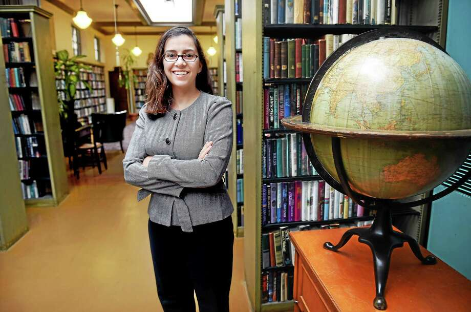 (Arnold Gold-New Haven Register)  Natalie Elicker, Executive Director of the Institute Library, is photographed at the Institute Library in New Haven on 10/2/2015. Photo: Journal Register Co.