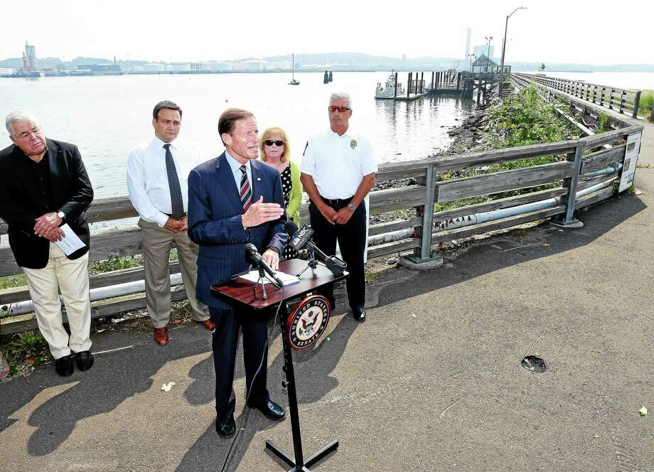 U.S. Sen. Richard Blumenthal talks about the Army Corps of Engineers Draft Dredged Material Management Plan and the importance of dredging along the Connecticut shoreline including New Haven Harbor at a press conference at Long Wharf pier in New Haven Thursday. Photo: Arnold Gold — New Haven Register