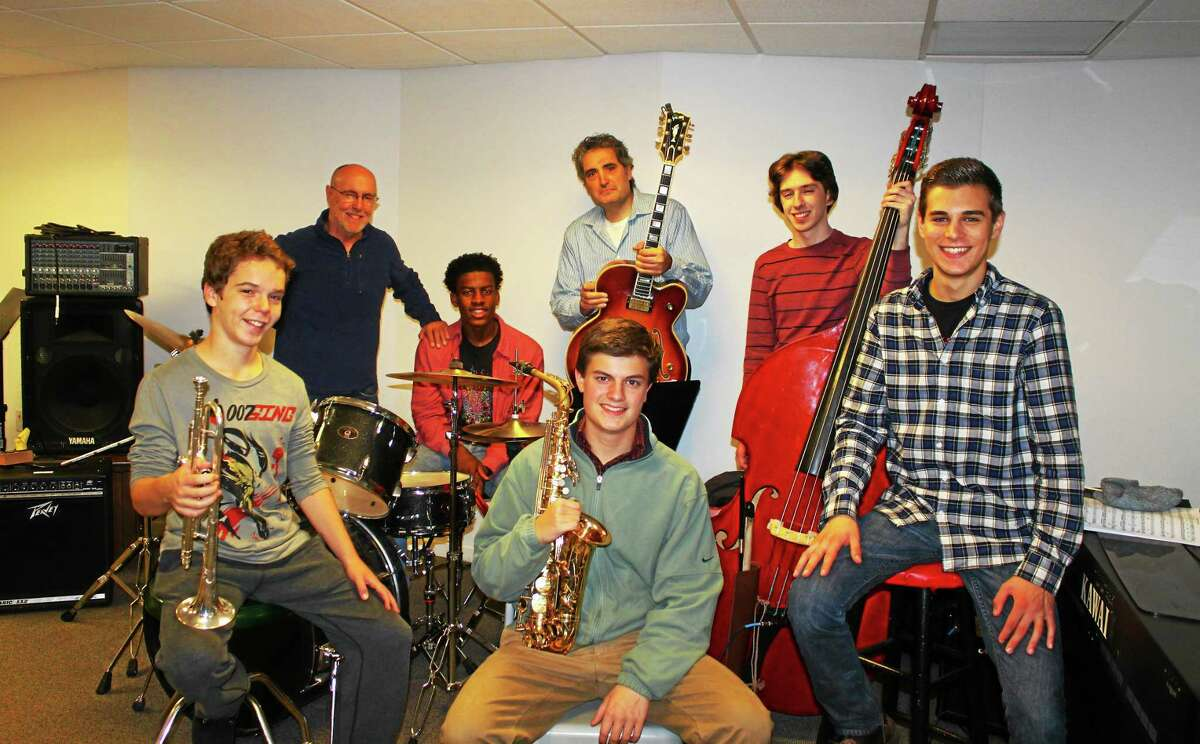 The Premier Jazz Ensemble, front row, from left, Tyler Felson, Nigel Regan and Andrew Fermo on piano; back row, arranger/conductor Jeff Fuller, Tyler Jenkins, Gary Grippo and Billy Stark.