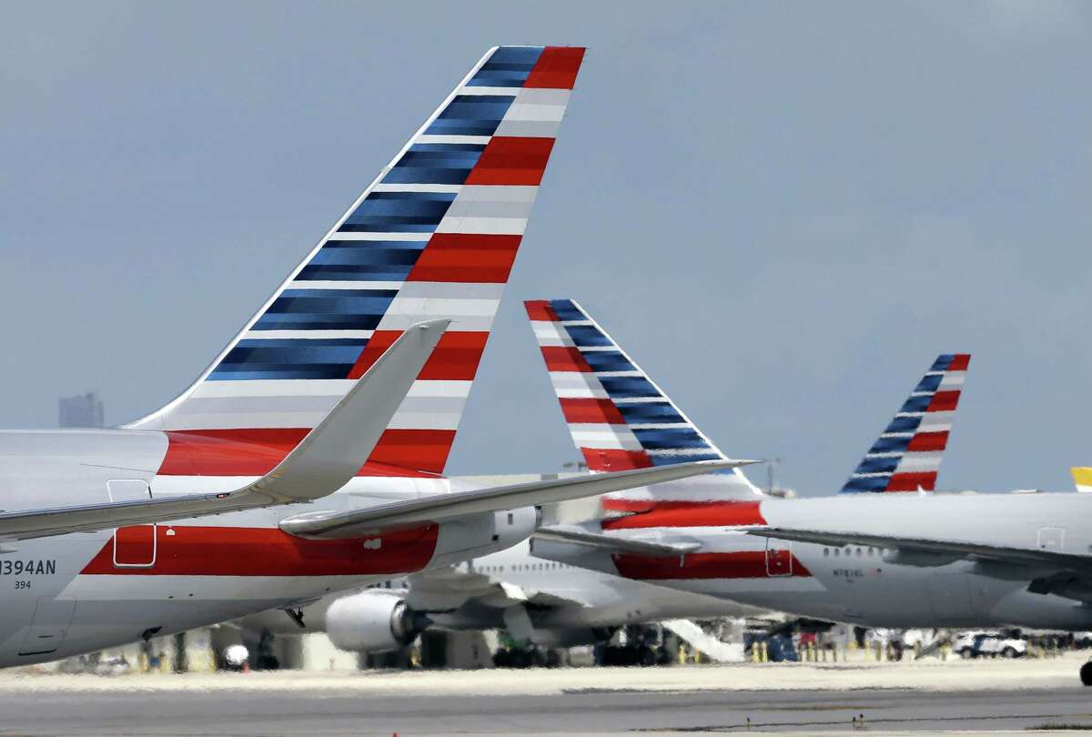 American Airlines aircraft taxi at Miami International Airport in Miami.
