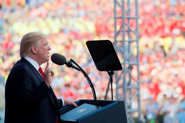 US President Donald Trump speaks during the National Boy Scout Jamboree at Summit Bechtel National Scout Reserve in Glen Jean, West Virginia, July 24, 2017. / AFP PHOTO / SAUL LOEBSAUL LOEB/AFP/Getty Images
