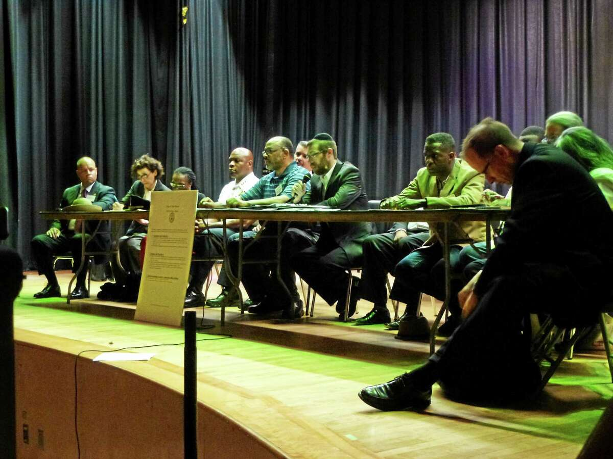 The public had a chance to voice concerns to the Community and Police Relations Task Force in the Wexler-Grant School auditorium Wednesday night in New Haven.