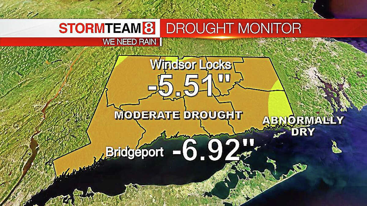 Courtesy of WTNH-TV A look at Connecticut's rainfall deficits by region.