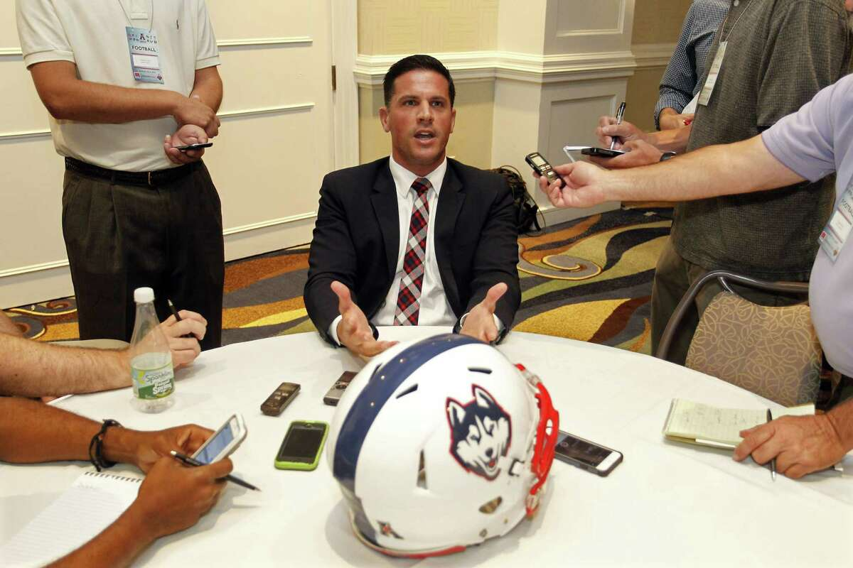 UConn football coach Bob Diaco speaks at the American Athletic Conference media day on Tuesday in Newport, R.I.