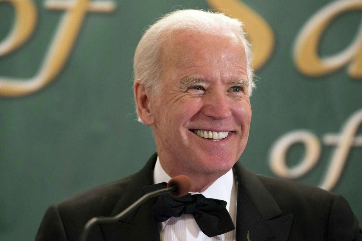 This March 17, 2015 photo shows Vice President Joseph R. Biden, Jr. speaking during the 110th annual dinner of the Friendly Sons of Saint Patrick of Lackawanna County at Genetti Manor in Dickson City, Pa.