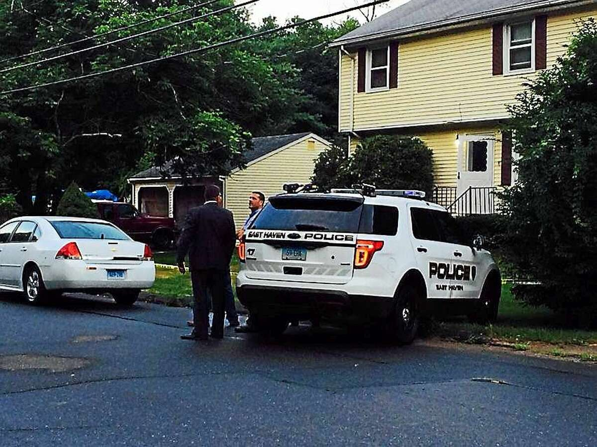 East Haven and Connecticut State Police investigate a double-shooting on Foxon Boulevard in East Haven Tuesday.