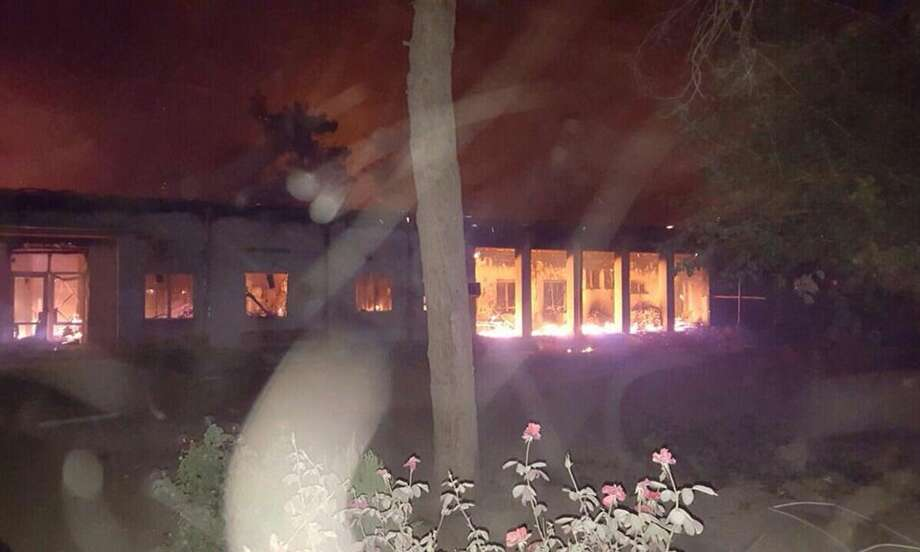 """The Doctors Without Borders hospital is seen in flames, after an explosion in the northern Afghan city of Kunduz, Saturday, Oct. 3, 2015 . Nine local staffers for Doctors Without Borders were killed and 30 were missing after the explosion that may have been caused by a U.S. airstrike. In a statement, the international charity said the """"sustained bombing"""" took place at 2:10 a.m. (2140 GMT). Afghan forces backed by U.S. airstrikes have been fighting to dislodge Taliban insurgents who overran Kunduz on Monday. Photo: MÈdecins Sans FrontiËres Via AP    / Médecins Sans Frontières"""