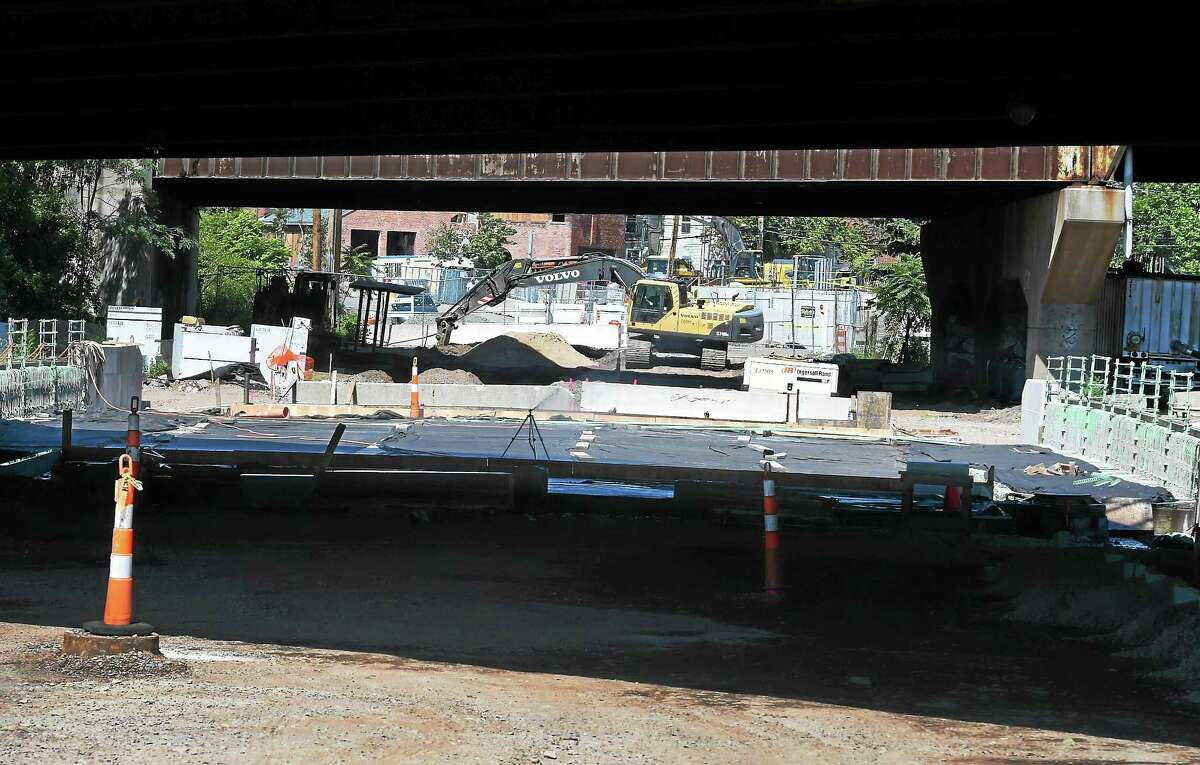 Construction site on State Street Bridge in New Haven from State and James streets, looking toward Mechanic Street Friday.