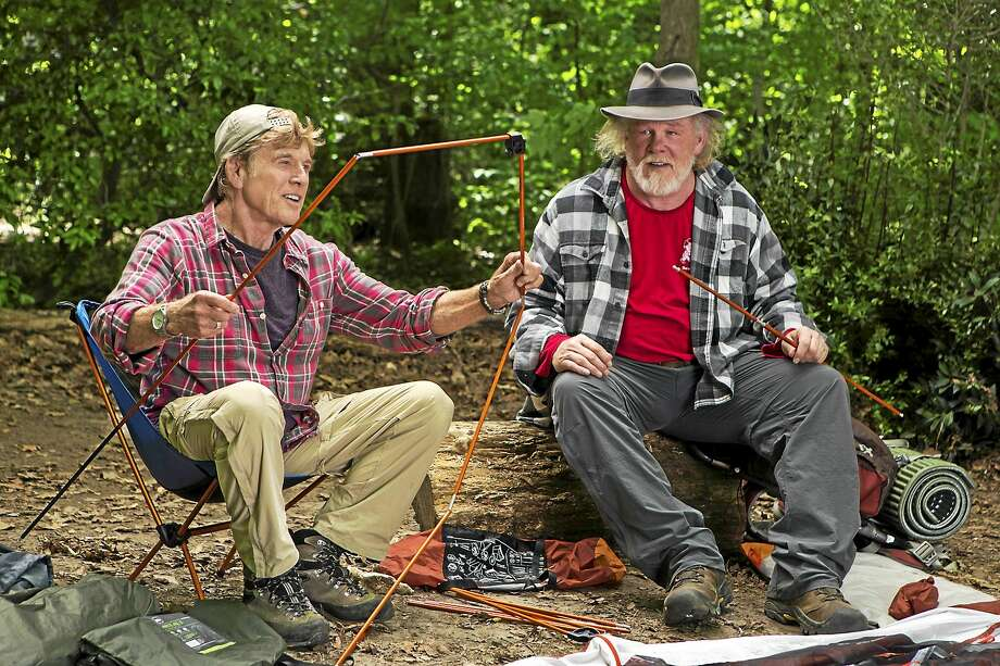 "Robert Redford, left, as Bill Bryson and Nick Nolte as Stephen Katz take in the view along the Appalachian Trail in ""A Walk in the Woods."" Photo: Frank Masi - Broad Green Pictures   / Broad Green Pictures"