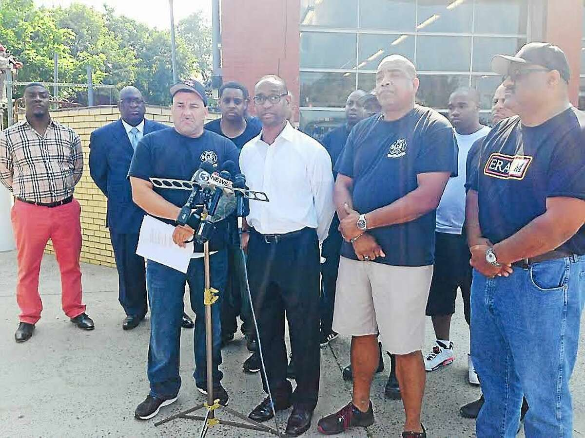 New Haven Firebirds President William Augustine and Vice President Darrell Brooks held a press conference at Dixwell Fire Station Wednesday.