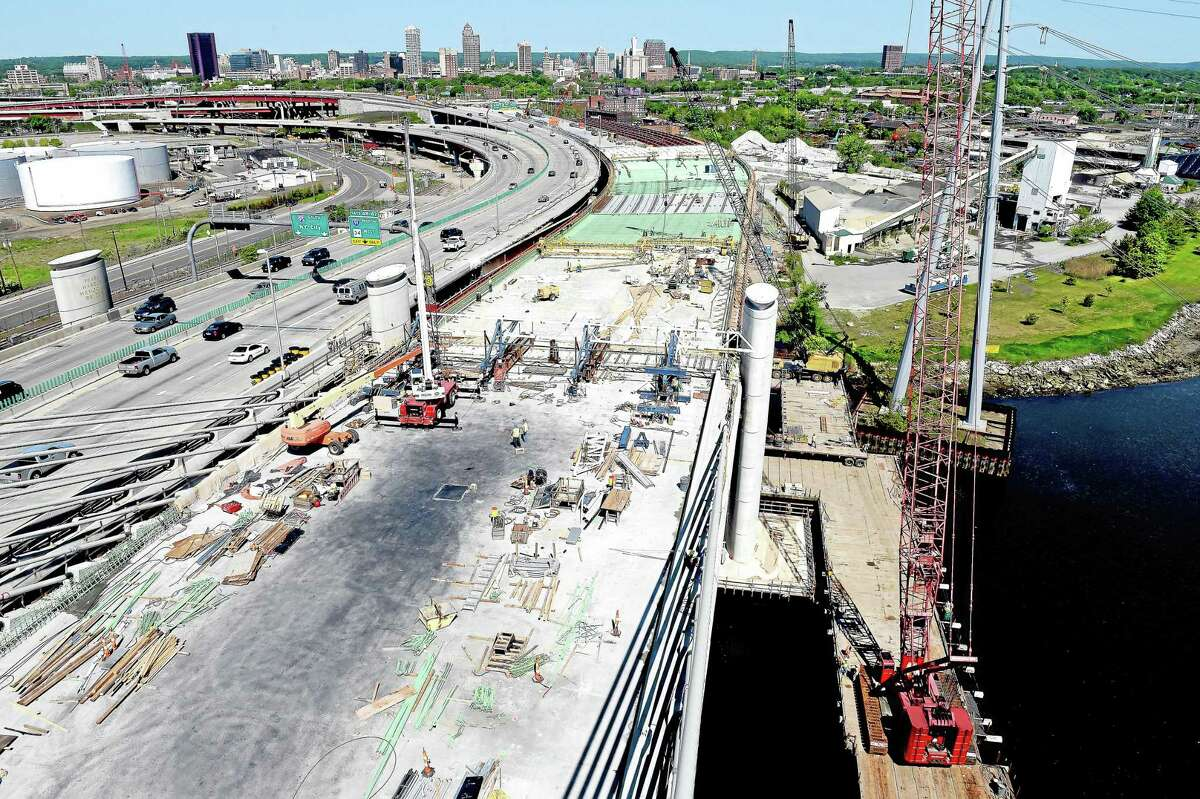 In this May 22 file photo, construction is shown on the southbound section of the Pearl Harbor Memorial Bridge in New Haven. Arnold Gold ó New Haven Register