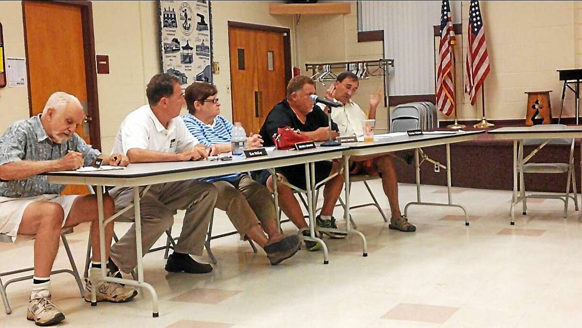 East Haven Town Council members, from left, Fred Parlato, Ken McKay, Beverly Gravino, Joseph Santino and Nicholas Palladino at Tuesday's meeting.